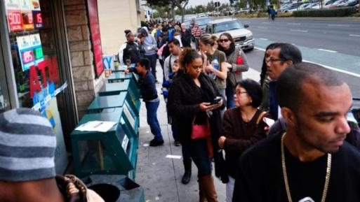 USA Powerball ticket queue