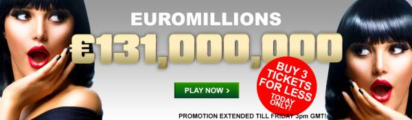 Buy 3 Euromillions tickets and save EXTENDED