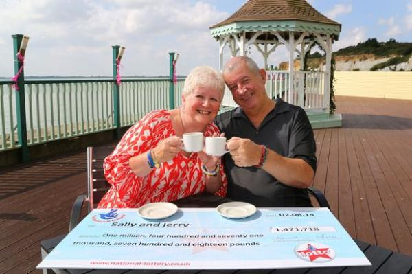 Sally Ann Wells with Jerry Gregory celebrates her National Lottery win of 1471718